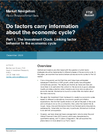 Do factors carry information about the economic cycle? (part 1)