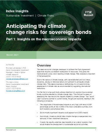 Anticipating climate change risks on sovereign bonds