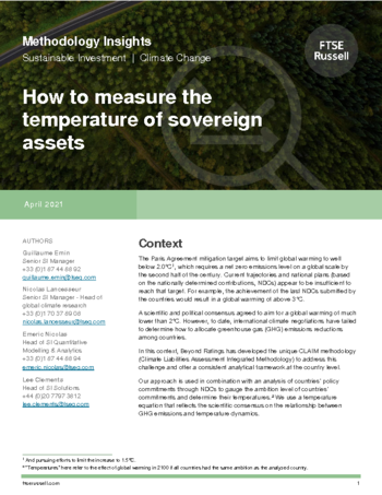 How to measure the temperature of sovereign assets