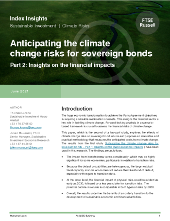 Anticipating the climate change risks for sovereign bonds (part 2)