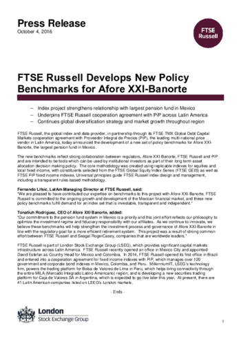 FTSE Russell Develops New Policy Benchmarks for Afore XXI-Banorte