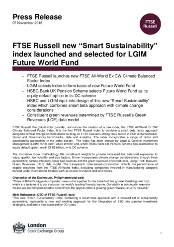 "FTSE Russell new ""Smart Sustainability"" index launched and"