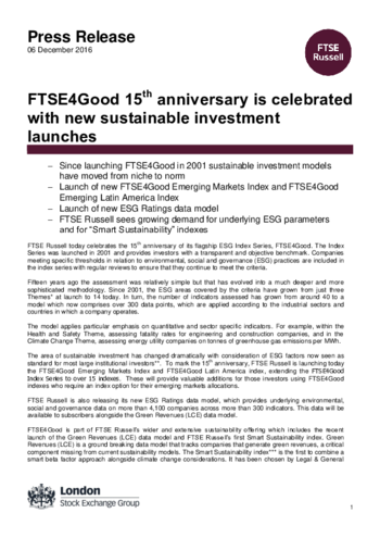 FTSE4Good 15th anniversary is celebrated with new