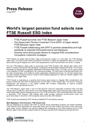 World's largest pension fund selects new FTSE Russell ESG