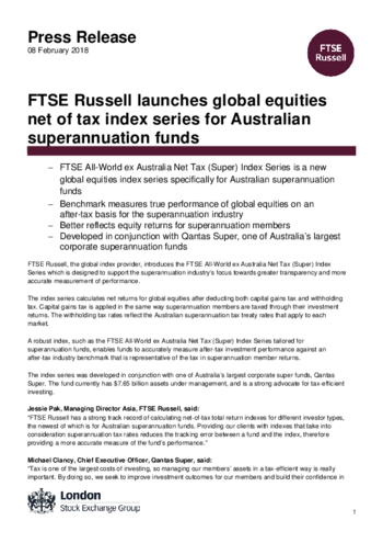 FTSE Russell launches global equities net of tax index series for