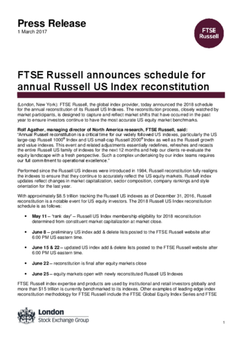 FTSE Russell announces 2018 Russell US Indexes