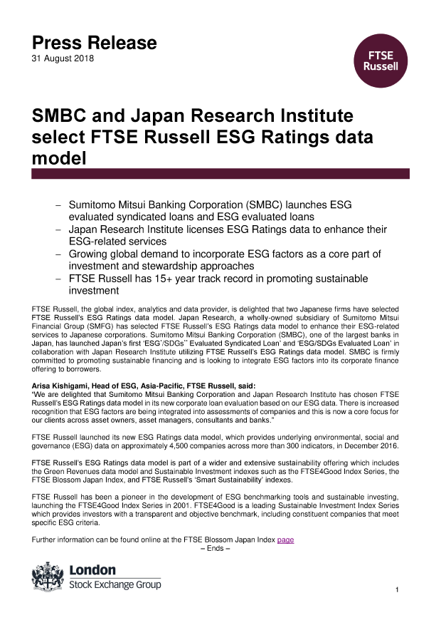SMBC and Japan Research Institute select FTSE Russell ESG Ratings
