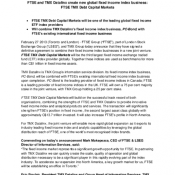 FTSE and TMX Datalinx create new global fixed income index business