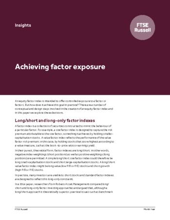 Achieving factor exposure