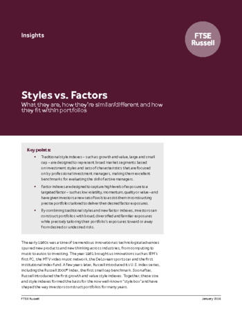 Styles vs. Factors: What they are, how they're similar/different and how they fit within portfolios