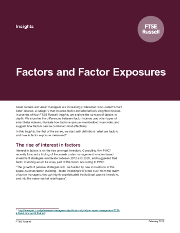 Factors and Factor Exposures