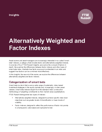 Alternatively Weighted and Factor Indexes