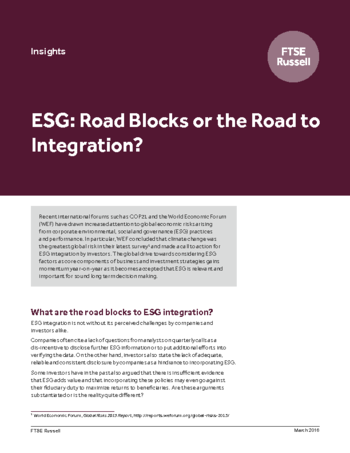 ESG: Road Blocks or the Road to Integration?