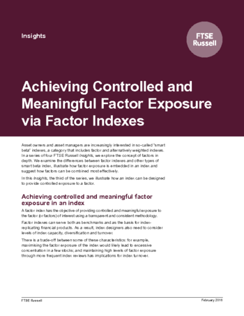 Achieving Controlled and Meaningful Factor Exposure via Factor Indexes