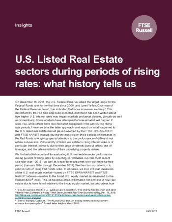 US Listed Real Estate sectors during periods of rising rates: what history tells us