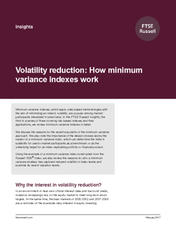 Volatility reduction: How minimum variance indexes work