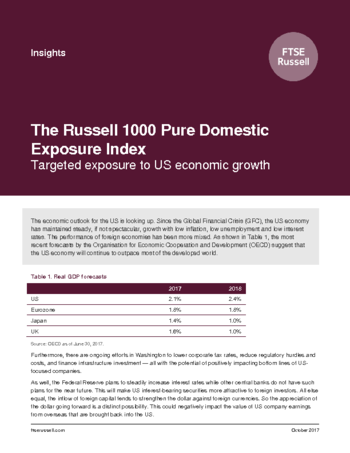 The Russell 1000 Pure Domestic Exposure Index: Targeted exposure to US economic growth