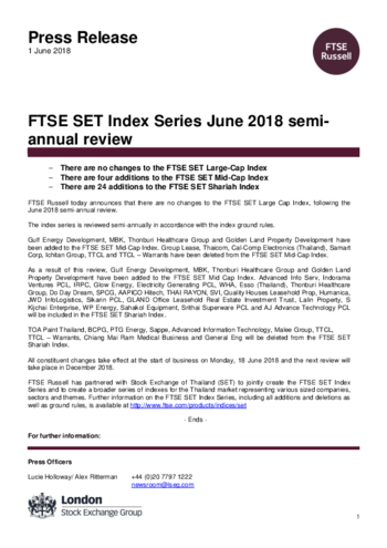 FTSE SET Index Series June 2018 semi-annual review | FTSE Russell
