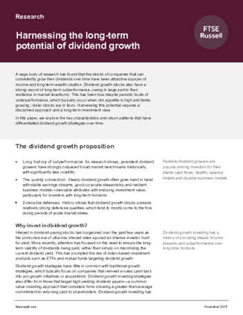 Harnessing the long-term potential of dividend growth