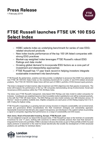 FTSE Russell launches FTSE UK 100 ESG Select Index | FTSE Russell