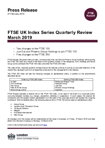 Ftse Uk Index Series Quarterly Review March 2019 Ftse Russell