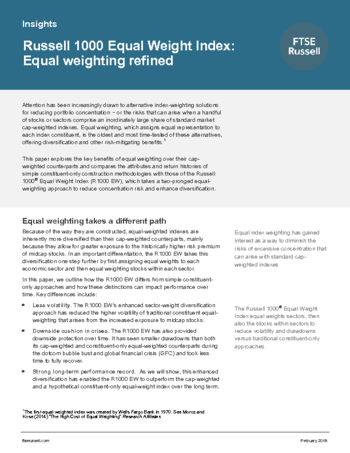 Russell 1000 Equal Weight Index: Equal weighting refined