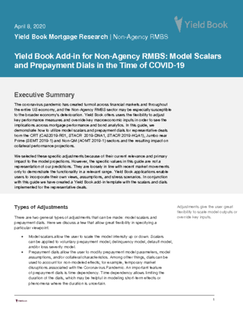 Yield Book Add in for Non Agency RMBS: Model Scalars and Prepayment Dials in the Time of COVID-19