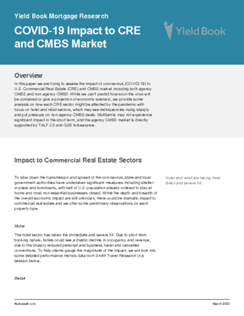 Yield Book Mortgage Research: COVID-19 Impact to CRE and CMBS Market