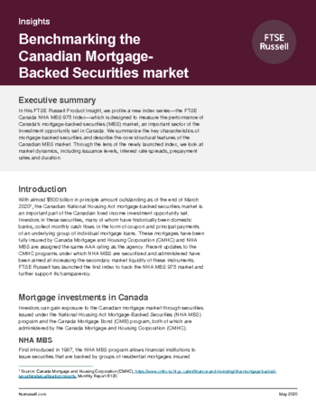 Benchmarking the Canadian mortgage-backed securities market