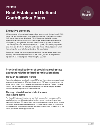 Real Estate and defined contribution plans