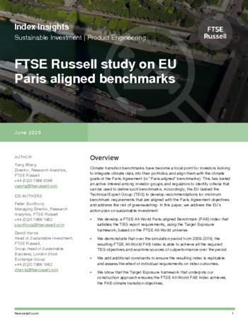 FTSE Russell study on EU Paris-aligned benchmarks