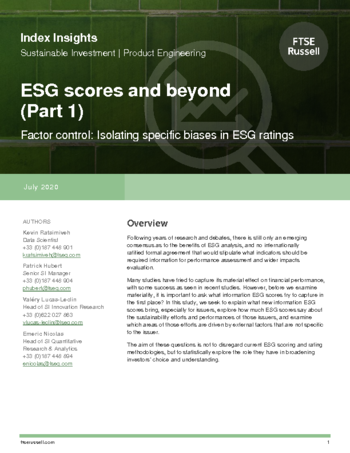 ESG scores and beyond (part 1/3) - Factor control: isolating specific biases in ESG ratings