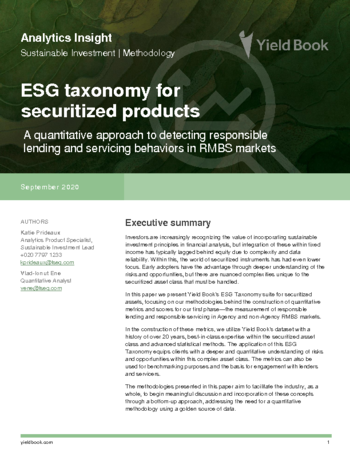 ESG taxonomy for securitized products