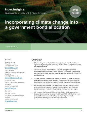 Incorporating climate change into a government bond allocation (aka How to build a climate-adjusted bond index – condensed)
