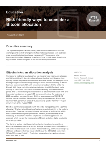 Risk friendly ways to consider a Bitcoin allocation