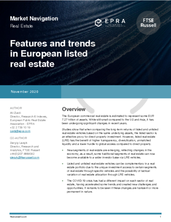 Features and trends in listed European real estate