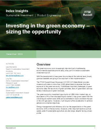 Investing in the green economy - sizing the opportunity