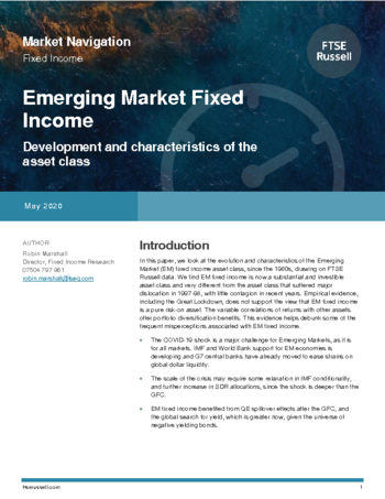 Emerging market fixed income - development and characteristics of the asset class