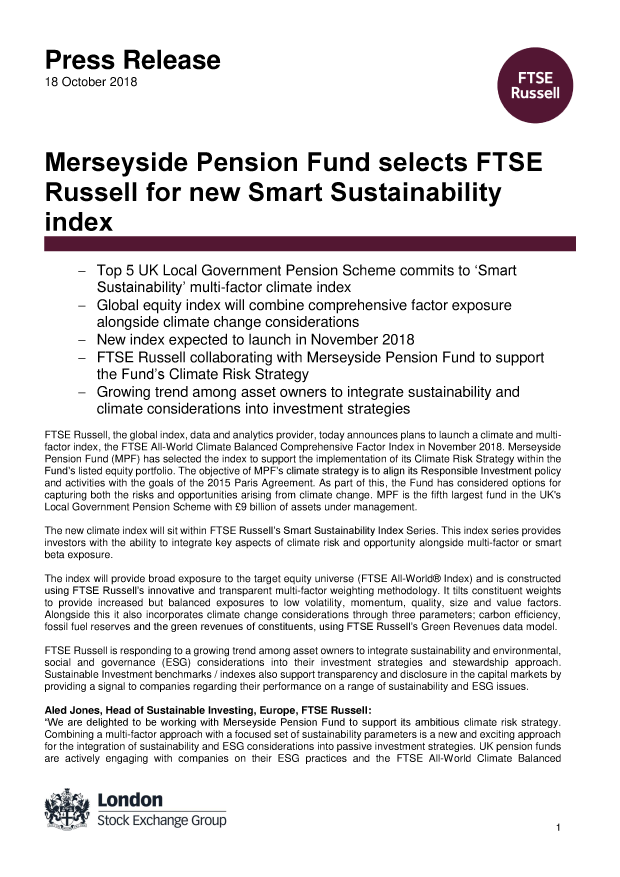 Merseyside Pension Fund selects FTSE Russell for new Smart
