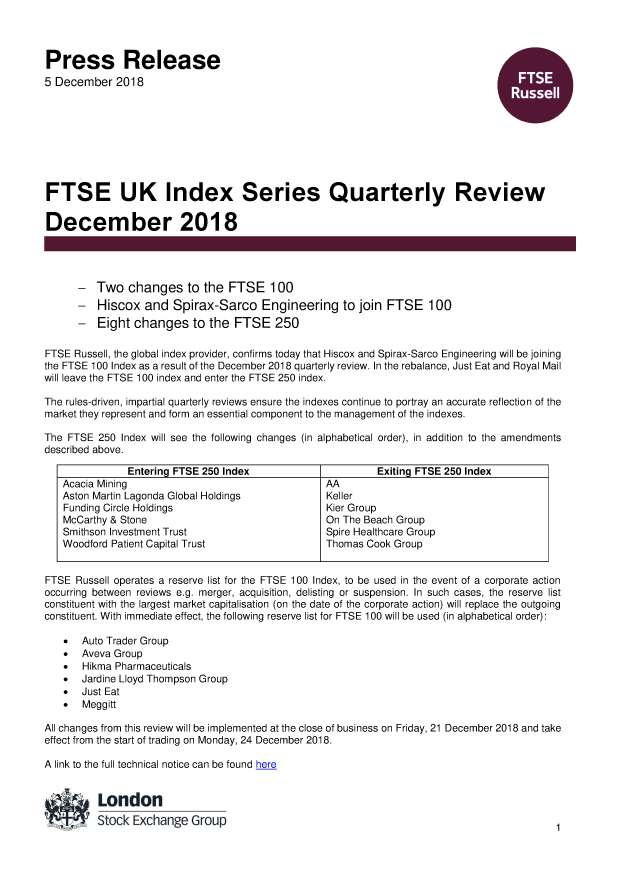 FTSE UK Index Series Quarterly Review December 2018 | FTSE Russell