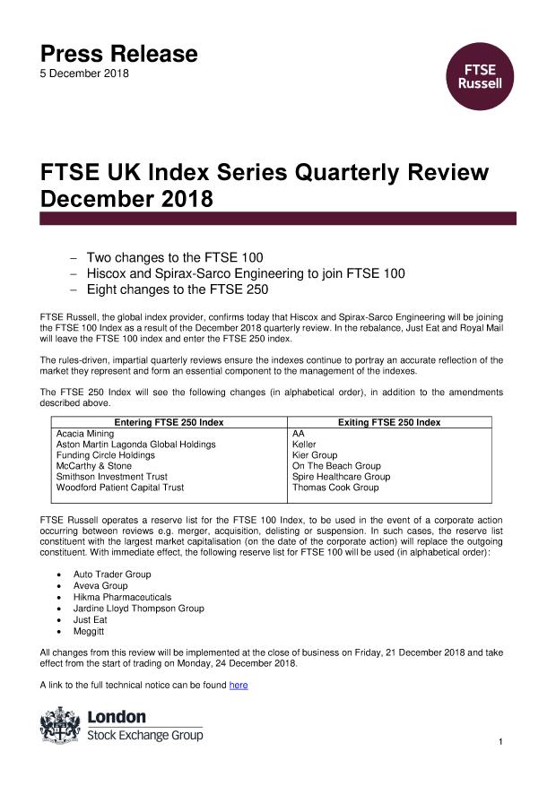 FTSE UK Index Series Quarterly Review December 2018 | FTSE