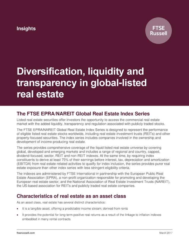Diversification, liquidity and transparency in global-listed real estate