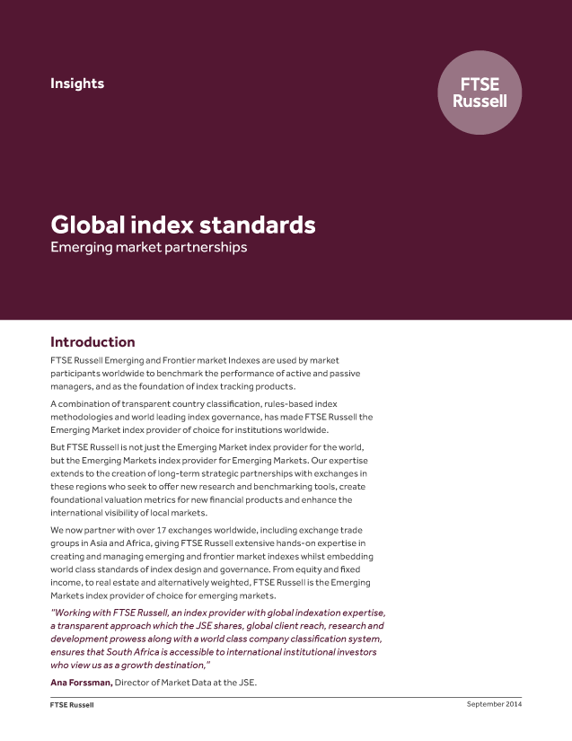 Global index standards - Emerging market partnerships