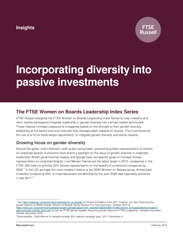 Incorporating diversity in passive investments