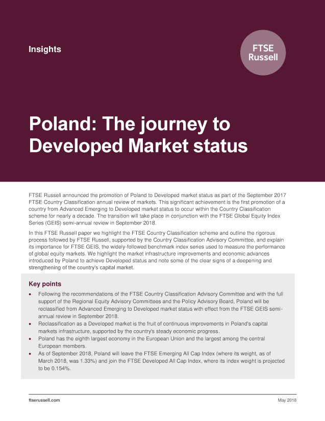 Poland: The journey to Developed Market status