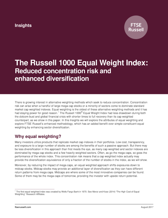 The Russell 1000 Equal Weight Index: Reduced concentration risk and enhanced diversification