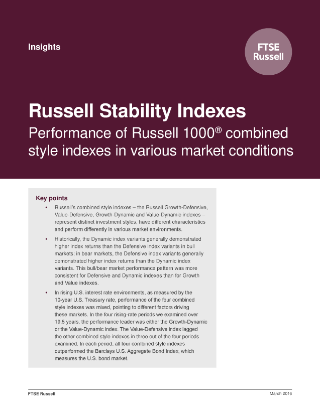Russell Stability Indexes: Performance of Russell 1000 combined style indexes in various market conditions