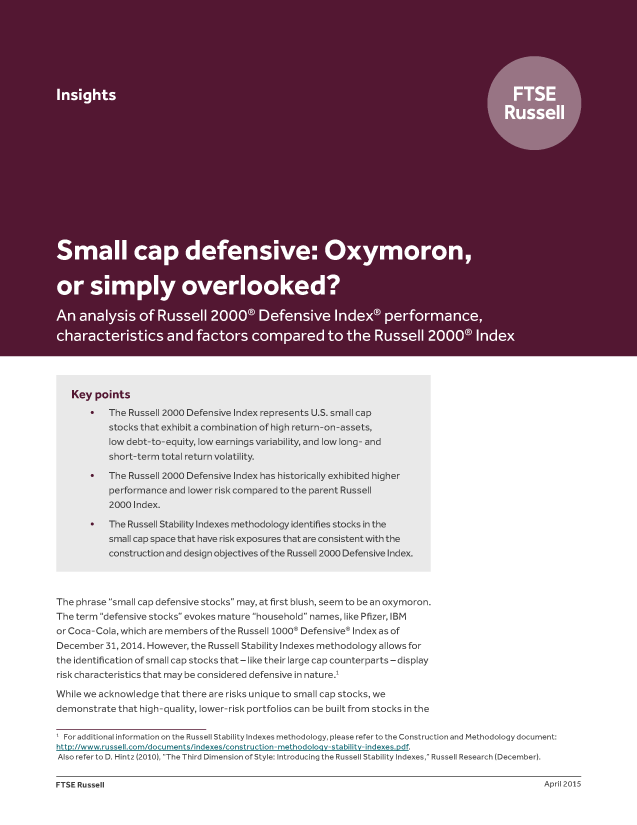 Small cap defensive: Oxymoron, or simply overlooked?