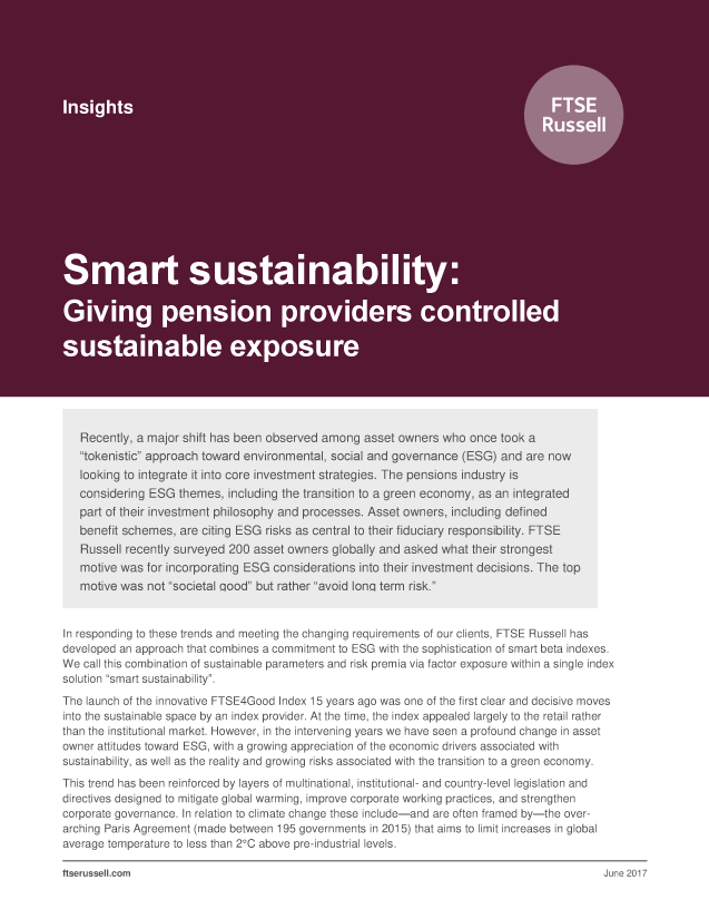 Smart sustainability: Giving pension providers controlled sustainable exposure