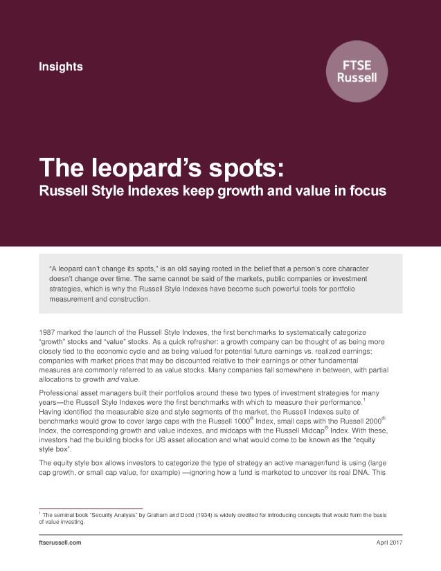 The leopard's spots: Russell Style Indexes keep growth and value in focus